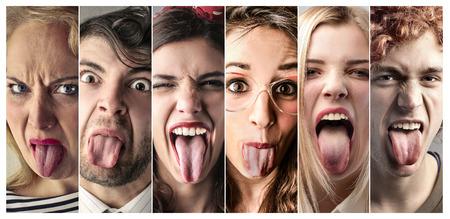 People making jokes faces Stock Photo