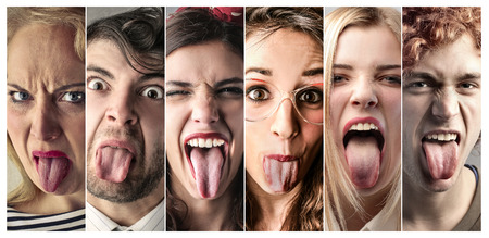 People making jokes faces Archivio Fotografico