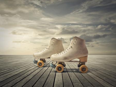 patinaje: un par de patinadores Foto de archivo