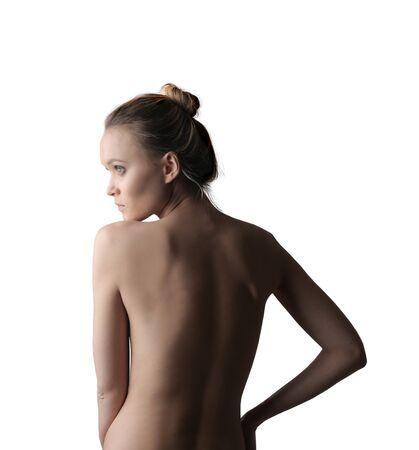 mujer rubia desnuda: Hermosa mujer rubia posando en topless