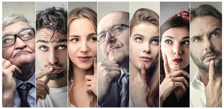 People thinking of something Stockfoto