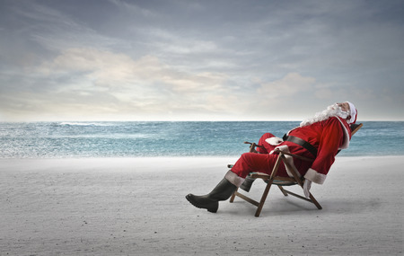 sleeping: Santa at the seaside