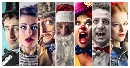 People wearing funny costumes Stock Photo