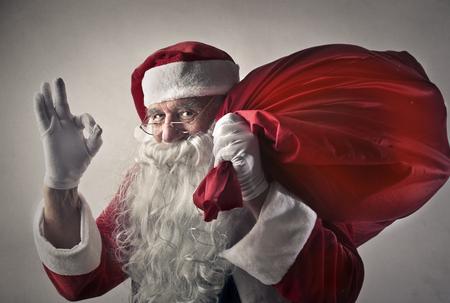 ok hand: Happy Santa Claus Stock Photo