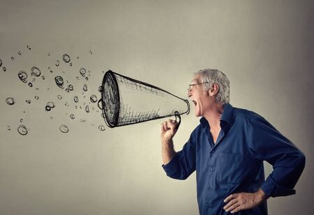 fury: Man shouting a message