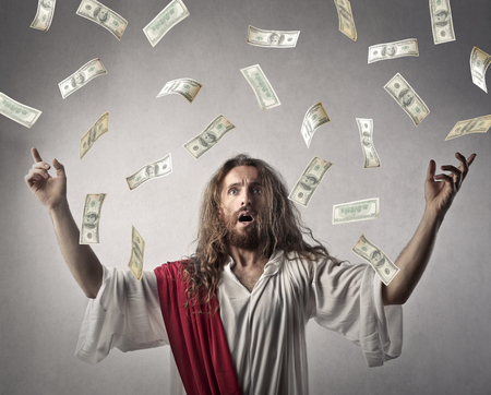 Jesus throwing money away