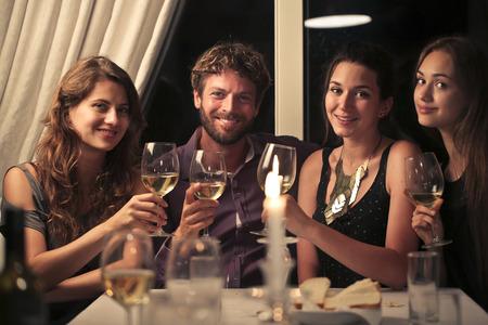 友達と夕食 写真素材