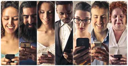 group work: Smart phone addiction Stock Photo