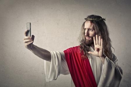 Jesus macht einen selfie Lizenzfreie Bilder