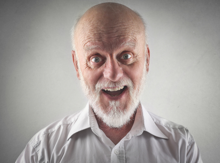 old man beard: Joyful elderly man
