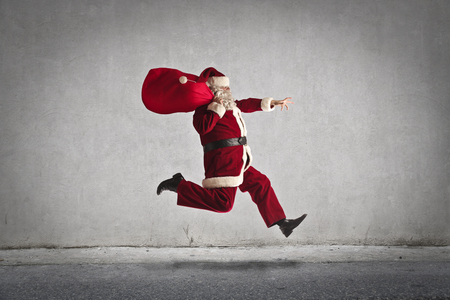 to santa: Santa Claus running