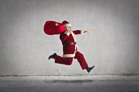 sack background: Santa Claus running