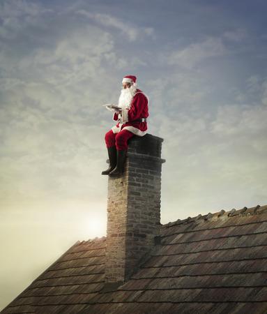 Santa sitting on the chimney