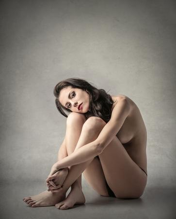 naked woman: Naked woman sitting Stock Photo