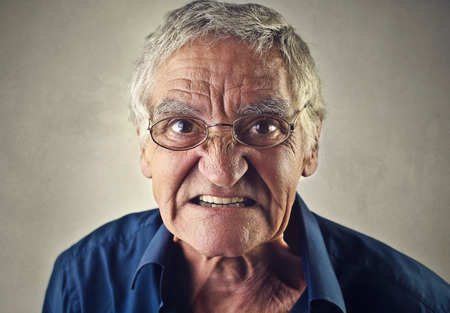 disdain: Angry elderly man