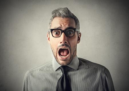enojo: Hombre sorprendido  Foto de archivo