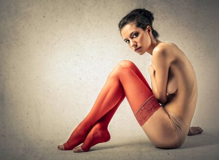 wonderful: Woman with red stockings Stock Photo