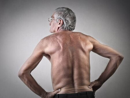 shoulder problem: Elderly mans back