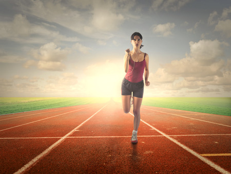 jogging track: Runner training Stock Photo
