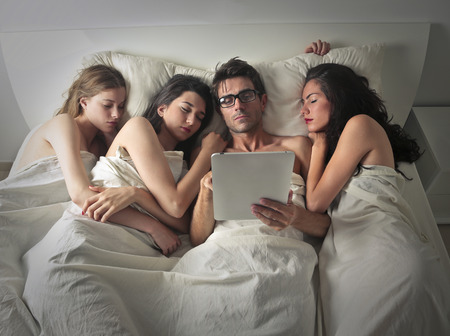 sleeping pad: Powerful man sleeping with three women