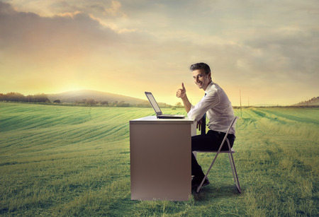 exult: Happy businessman working in the countryside