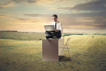 exult: Businessman working in a field
