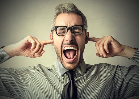 voiceless: Deaf man shouting Stock Photo