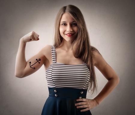 強い女性 写真素材