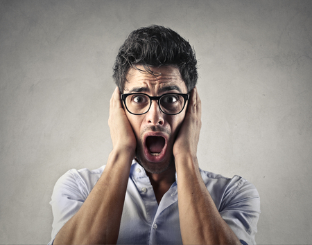 horrified: Horrified man screaming