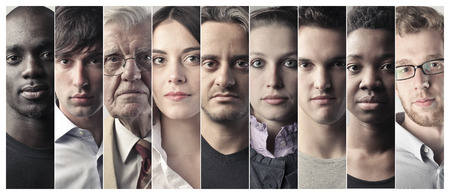 mosaic: Serious peoples faces Stock Photo