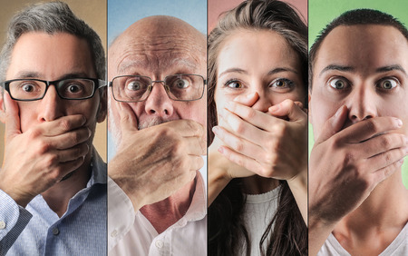 personas enojadas: Retratos de las personas sorprendidas Foto de archivo