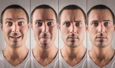 Verschillende uitdrukkingen op het gezicht van een man