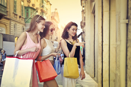 paper bag: Three friends doing shopping