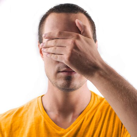 blind man: like a blind man Stock Photo