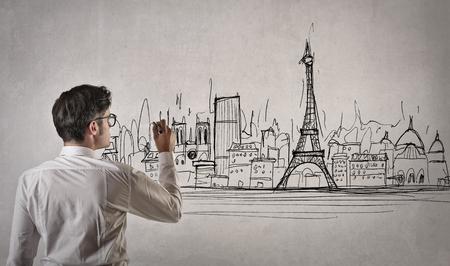 work popular: Engineer drawing a new skyline