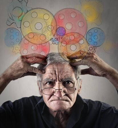 meninges: Elderly man with functioning gears