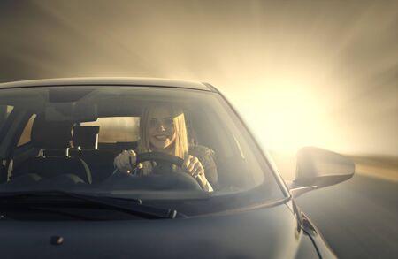 Woman driving a car Stock Photo