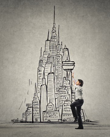 careerist: Trying to climb to the tallest building Stock Photo