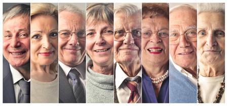 Elderly people's portraits 스톡 콘텐츠