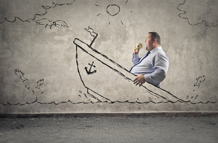 immagination: Sinking ship with a fat man on Stock Photo