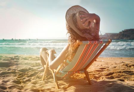 bikini: Relaxed woman in the sunshine Stock Photo