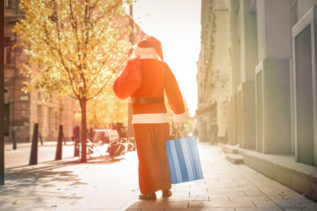 walking away: Santa Claus walking away