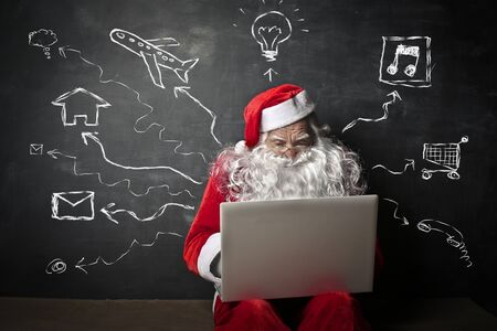 old pc: Santa Claus thinking of different means of transport