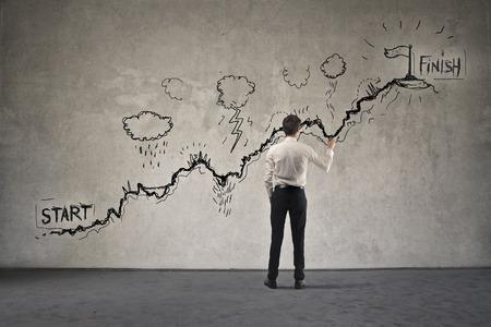 Proberen om het eindpunt te bereiken Stockfoto