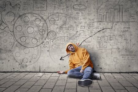 blood draw: Depressed nerd man