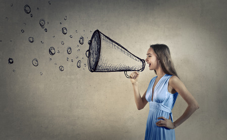 immagination: Woman shouting into a megaphone