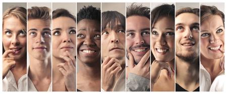 Gente emocionada pensando en algo Foto de archivo