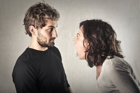 hysterical: Arguing couple