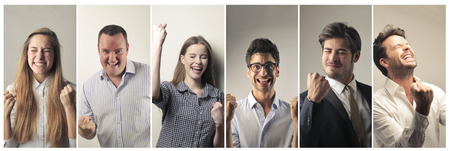 exult: Successful people Stock Photo
