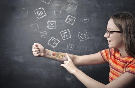 arm tattoo: Apps tattooed on her skin
